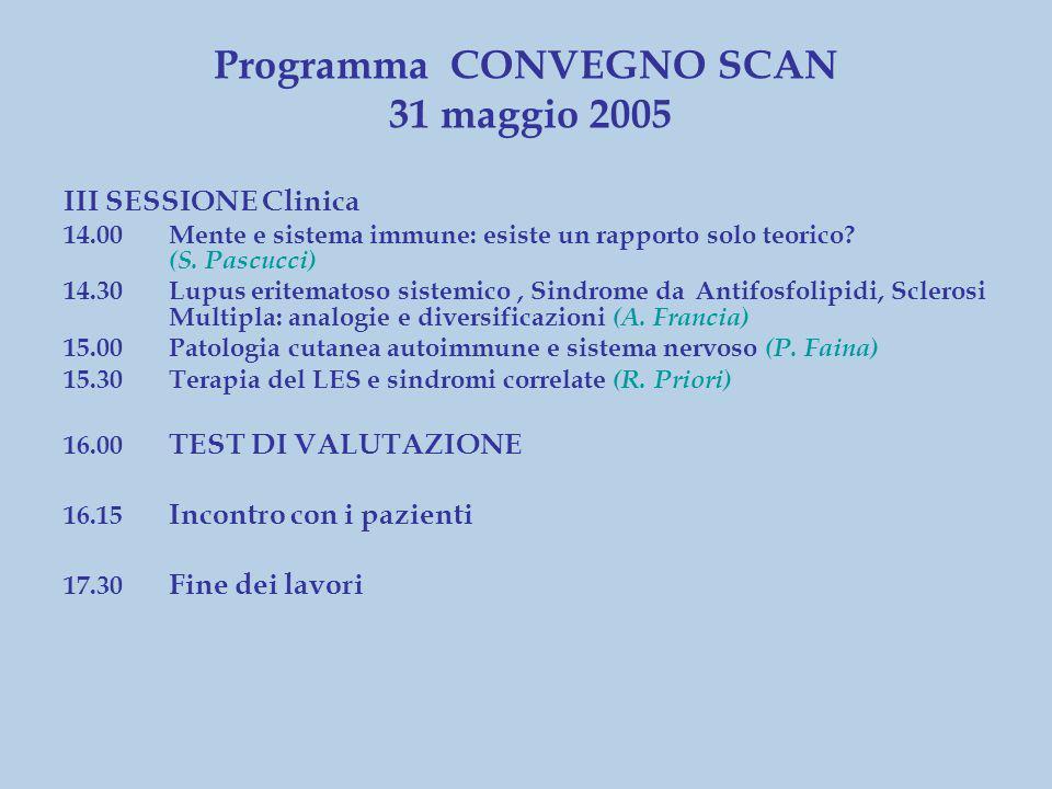 III SESSIONE Clinica 14.00Mente e sistema immune: esiste un rapporto solo teorico.
