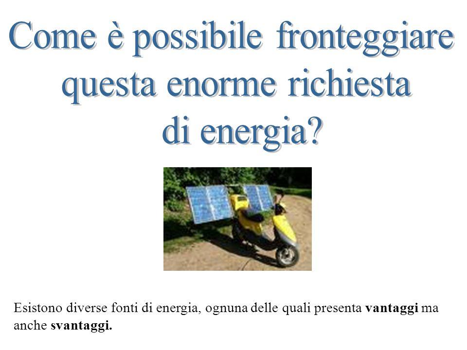 Esistono diverse fonti di energia, ognuna delle quali presenta vantaggi ma anche svantaggi.