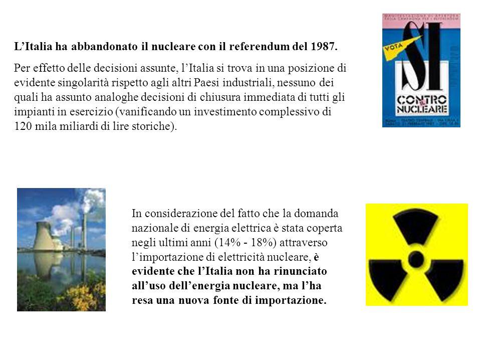 LItalia ha abbandonato il nucleare con il referendum del 1987. Per effetto delle decisioni assunte, lItalia si trova in una posizione di evidente sing
