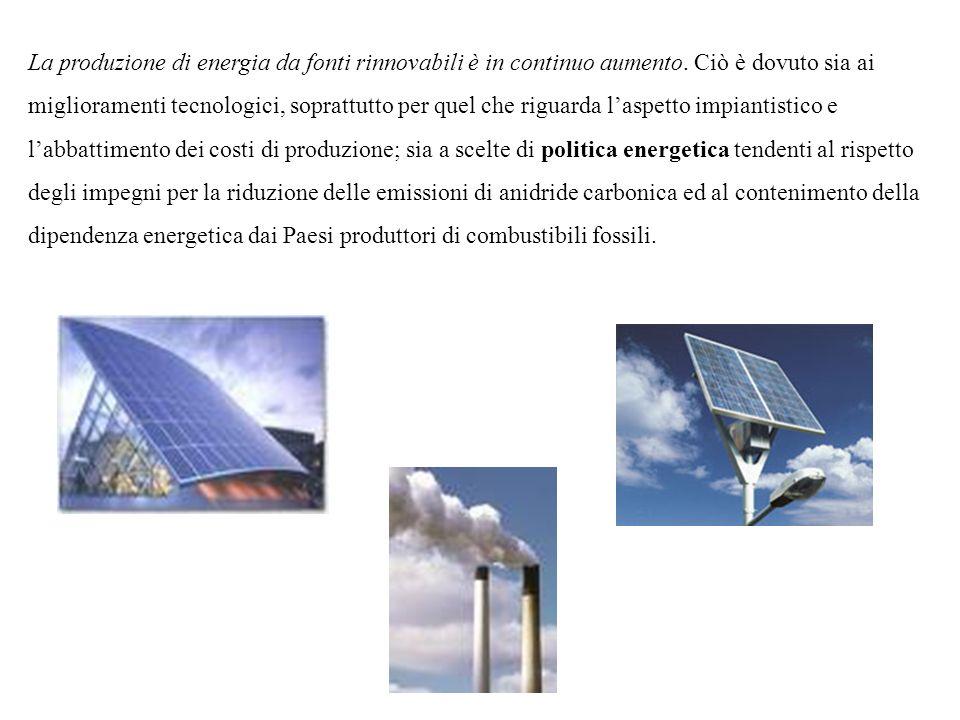 La produzione di energia da fonti rinnovabili è in continuo aumento. Ciò è dovuto sia ai miglioramenti tecnologici, soprattutto per quel che riguarda