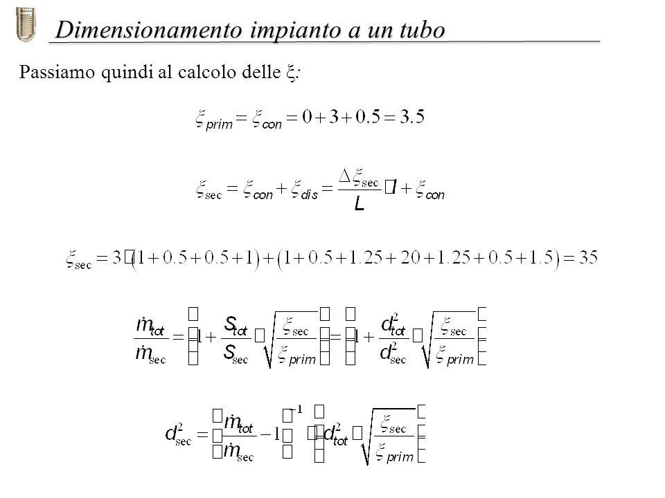 Dimensionamento impianto a un tubo Passiamo quindi al calcolo delle ξ: