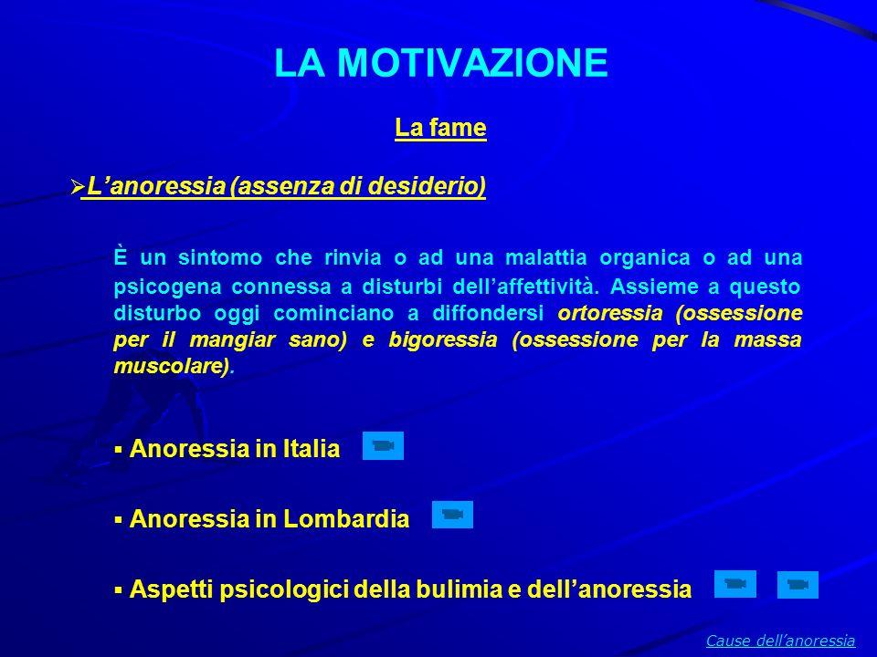 LA MOTIVAZIONE La fame Lanoressia (assenza di desiderio) È un sintomo che rinvia o ad una malattia organica o ad una psicogena connessa a disturbi del