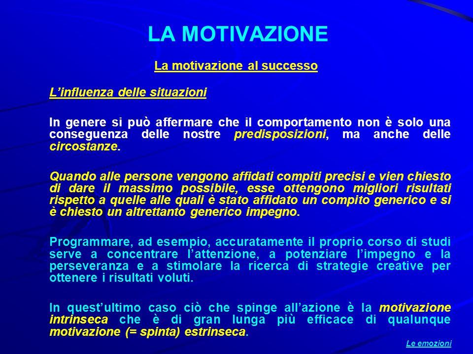 La motivazione al successo Linfluenza delle situazioni In genere si può affermare che il comportamento non è solo una conseguenza delle nostre predisp