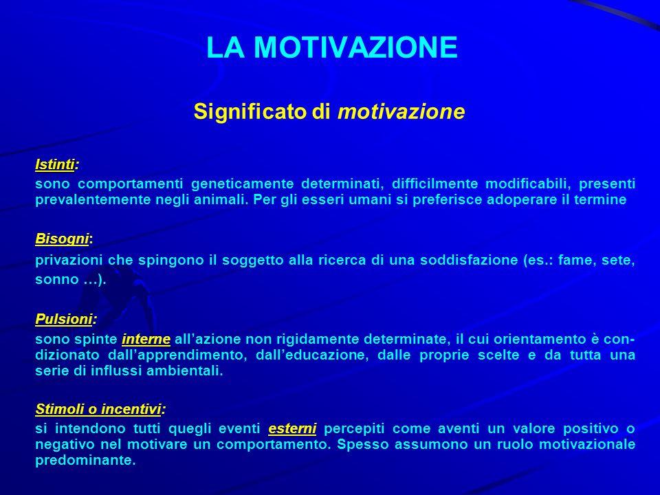 LA MOTIVAZIONE Significato di motivazione Istinti Istinti: sono comportamenti geneticamente determinati, difficilmente modificabili, presenti prevalen