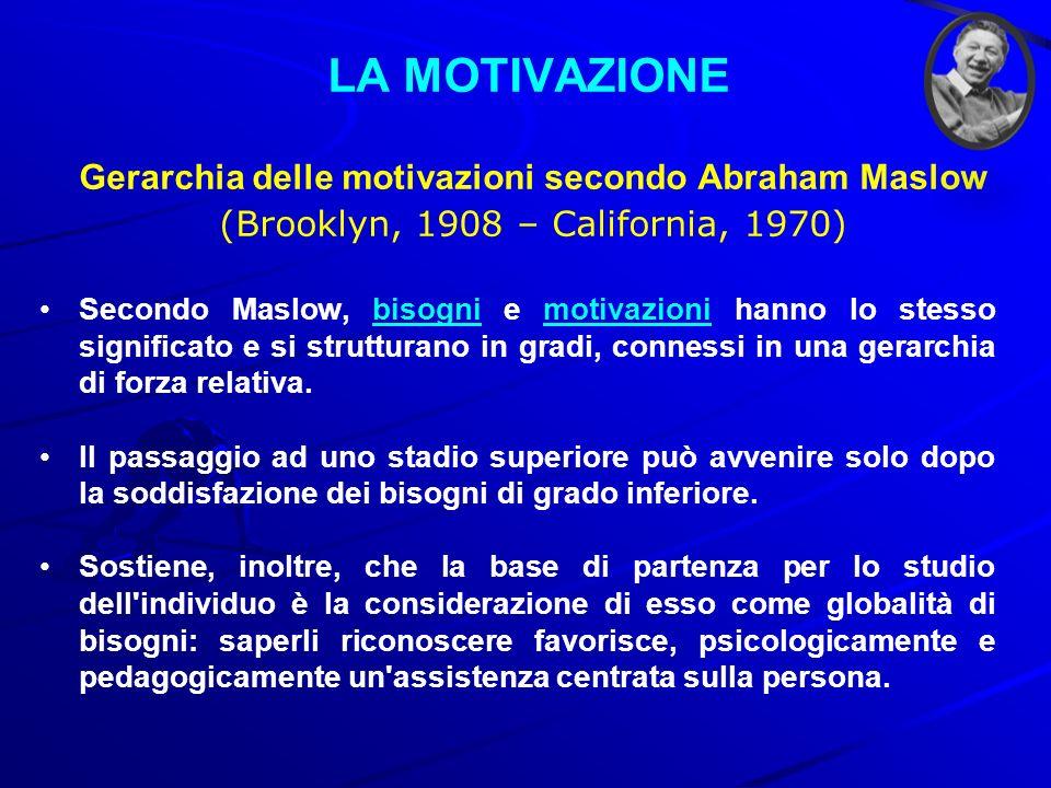 LA MOTIVAZIONE Gerarchia delle motivazioni secondo Abraham Maslow (Brooklyn, 1908 – California, 1970) Secondo Maslow, bisogni e motivazioni hanno lo s