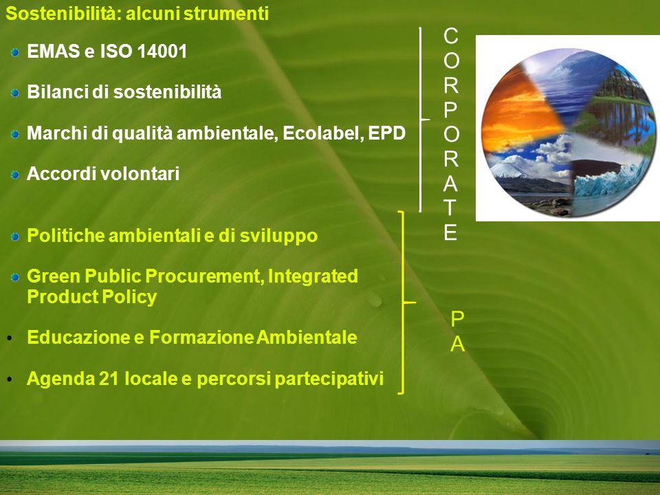 EMAS e ISO 14001 Bilanci di sostenibilità Marchi di qualità ambientale, Ecolabel, EPD Accordi volontari Politiche ambientali e di sviluppo Green Public Procurement, Integrated Product Policy Educazione e Formazione Ambientale Agenda 21 locale e percorsi partecipativi Sostenibilità: alcuni strumenti CORPORATECORPORATE PAPA