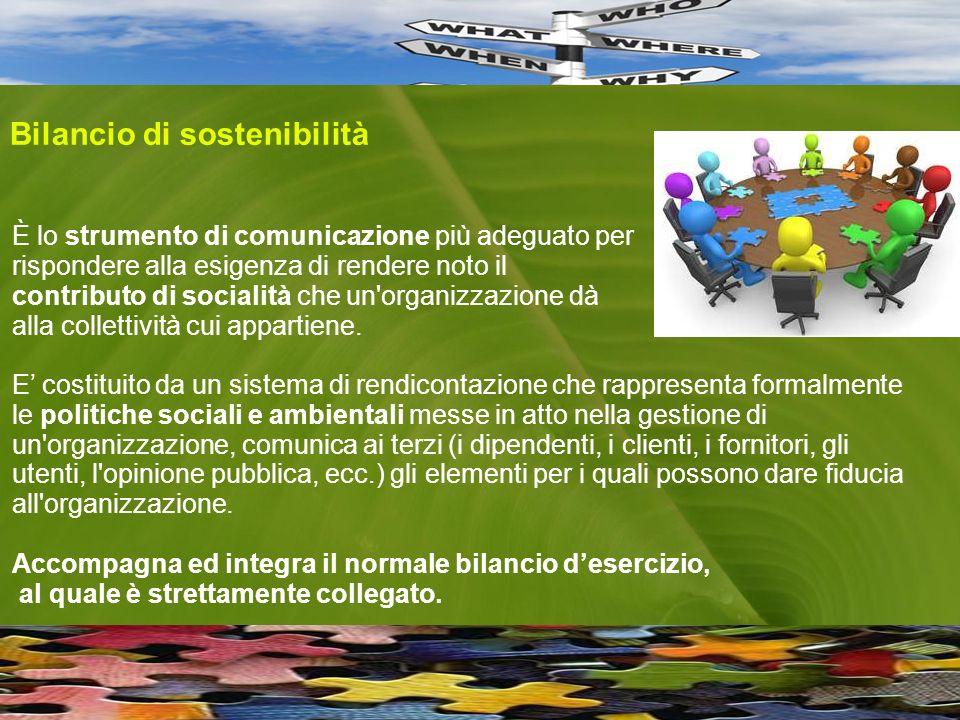 È lo strumento di comunicazione più adeguato per rispondere alla esigenza di rendere noto il contributo di socialità che un organizzazione dà alla collettività cui appartiene.