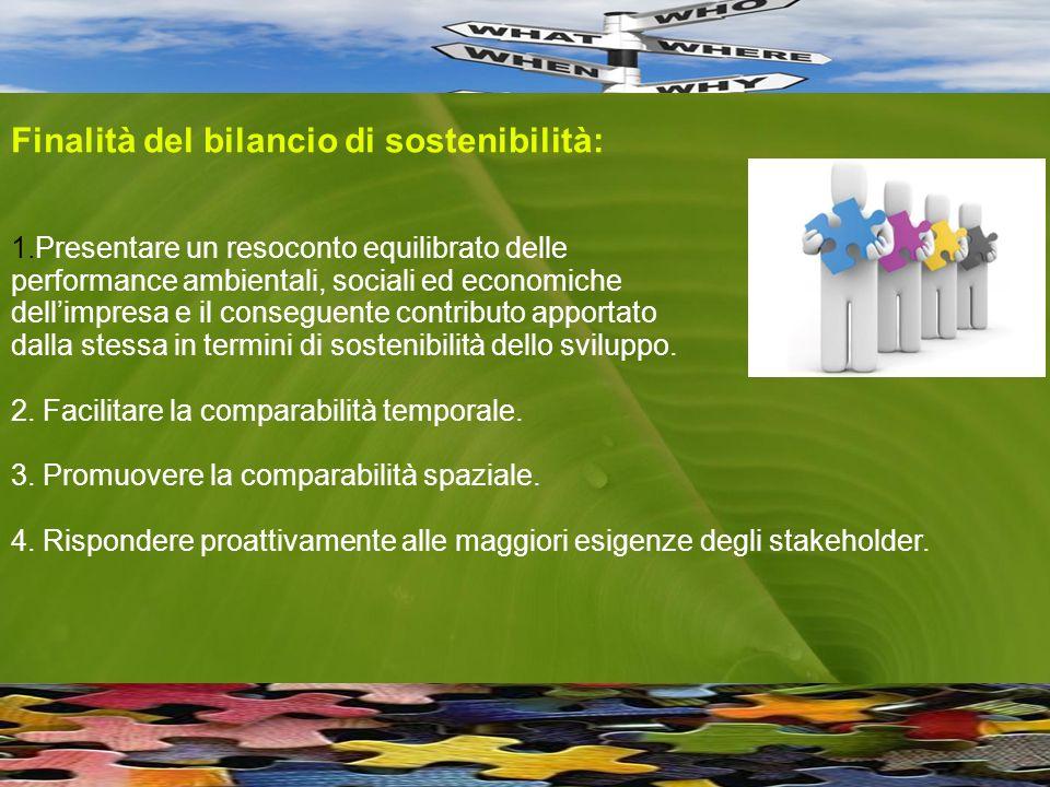 Finalità del bilancio di sostenibilità: 1.Presentare un resoconto equilibrato delle performance ambientali, sociali ed economiche dellimpresa e il conseguente contributo apportato dalla stessa in termini di sostenibilità dello sviluppo.