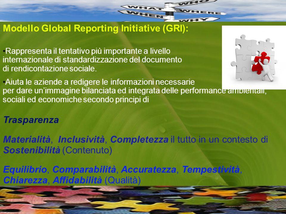 Modello Global Reporting Initiative (GRI): Rappresenta il tentativo più importante a livello internazionale di standardizzazione del documento di rendicontazione sociale.