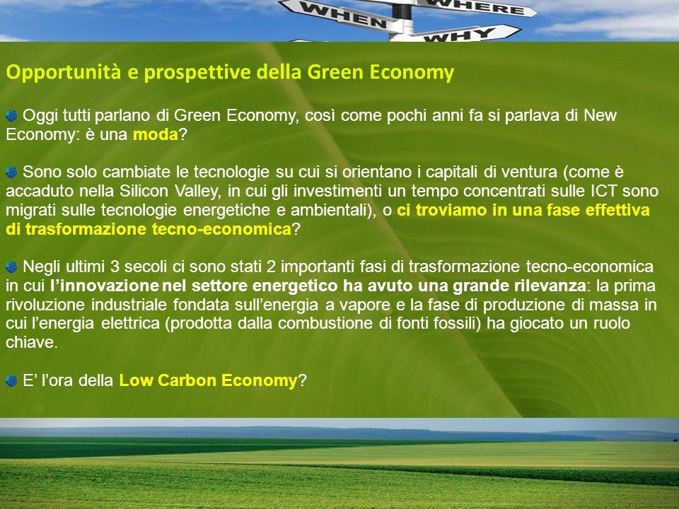 Opportunità e prospettive della Green Economy Oggi tutti parlano di Green Economy, così come pochi anni fa si parlava di New Economy: è una moda.