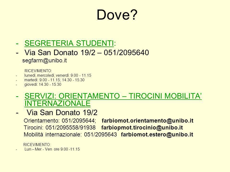 Dove? -SEGRETERIA STUDENTI: -Via San Donato 19/2 – 051/2095640 segfarm@unibo.it RICEVIMENTO: -lunedì, mercoledì, venerdì: 9.00 - 11.15 -martedì: 9.00