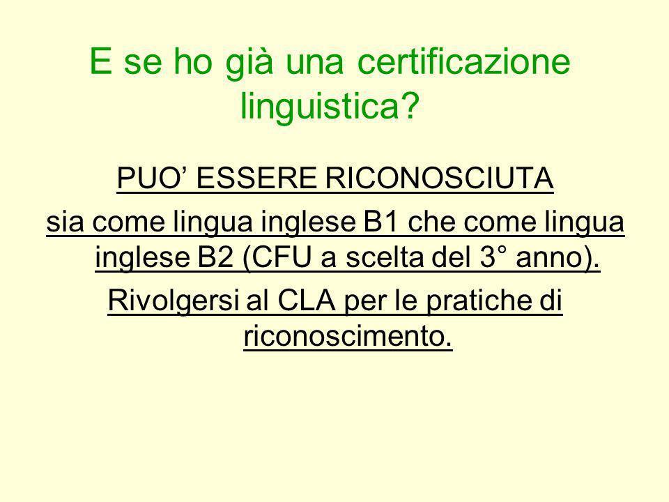 E se ho già una certificazione linguistica? PUO ESSERE RICONOSCIUTA sia come lingua inglese B1 che come lingua inglese B2 (CFU a scelta del 3° anno).