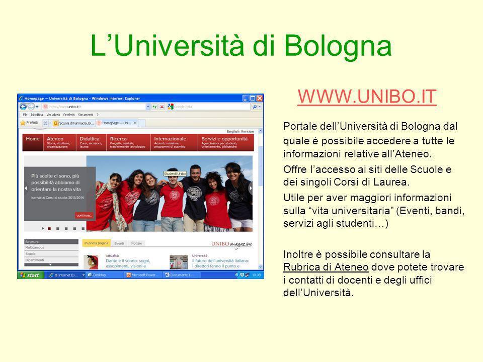 LUniversità di Bologna WWW.UNIBO.IT Portale dellUniversità di Bologna dal quale è possibile accedere a tutte le informazioni relative allAteneo. Offre