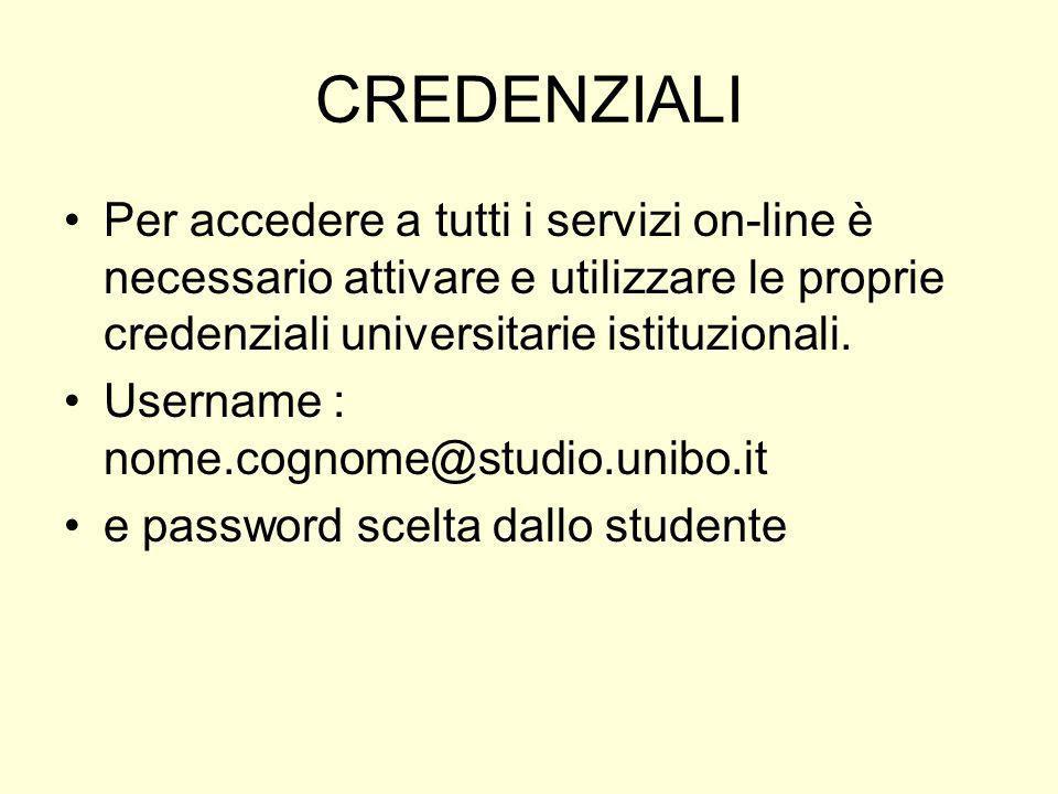 CREDENZIALI Per accedere a tutti i servizi on-line è necessario attivare e utilizzare le proprie credenziali universitarie istituzionali. Username : n