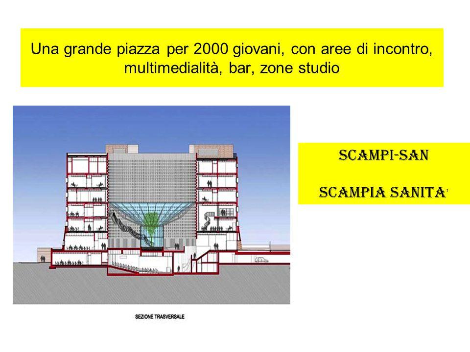 Una grande piazza per 2000 giovani, con aree di incontro, multimedialità, bar, zone studio SCAMPI-SAN SCAMPIA SANITA