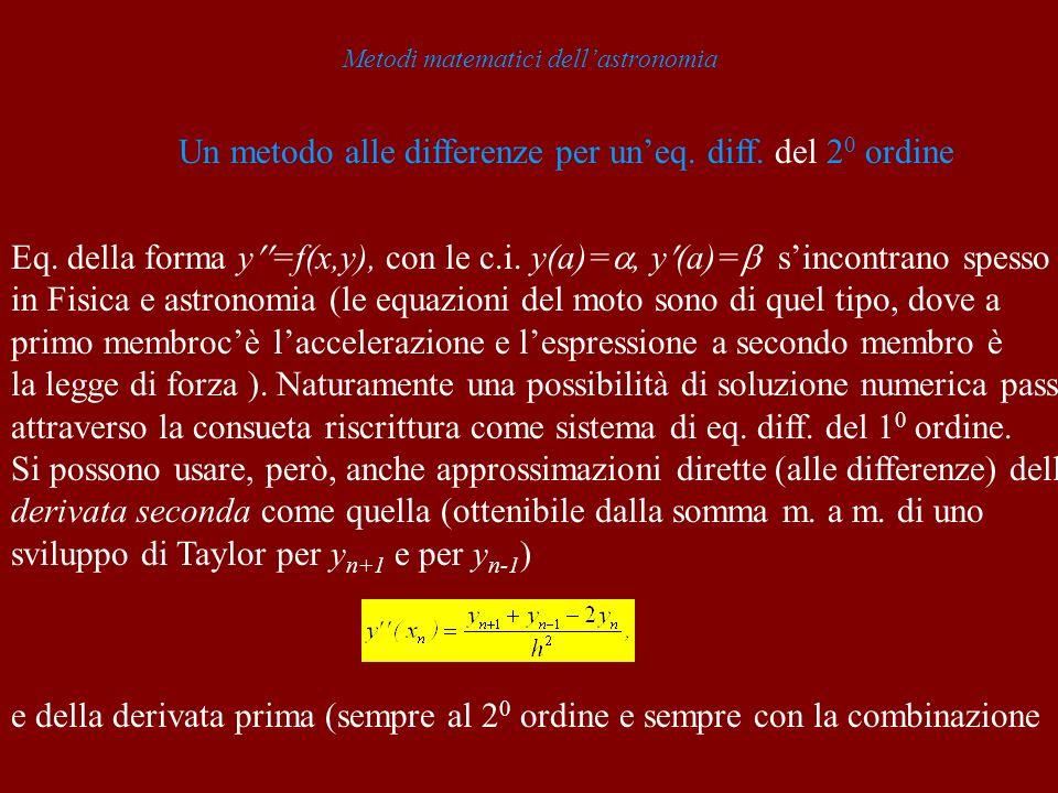 Metodi matematici dellastronomia Un metodo alle differenze per uneq.