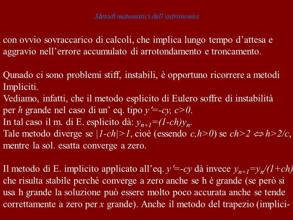 Metodi matematici dellastronomia con ovvio sovraccarico di calcoli, che implica lungo tempo dattesa e aggravio nellerrore accumulato di arrotondamento e troncamento.