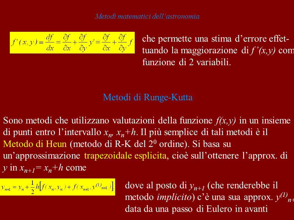 Metodi matematici dellastronomia che permette una stima derrore effet- tuando la maggiorazione di f(x,y) come funzione di 2 variabili.