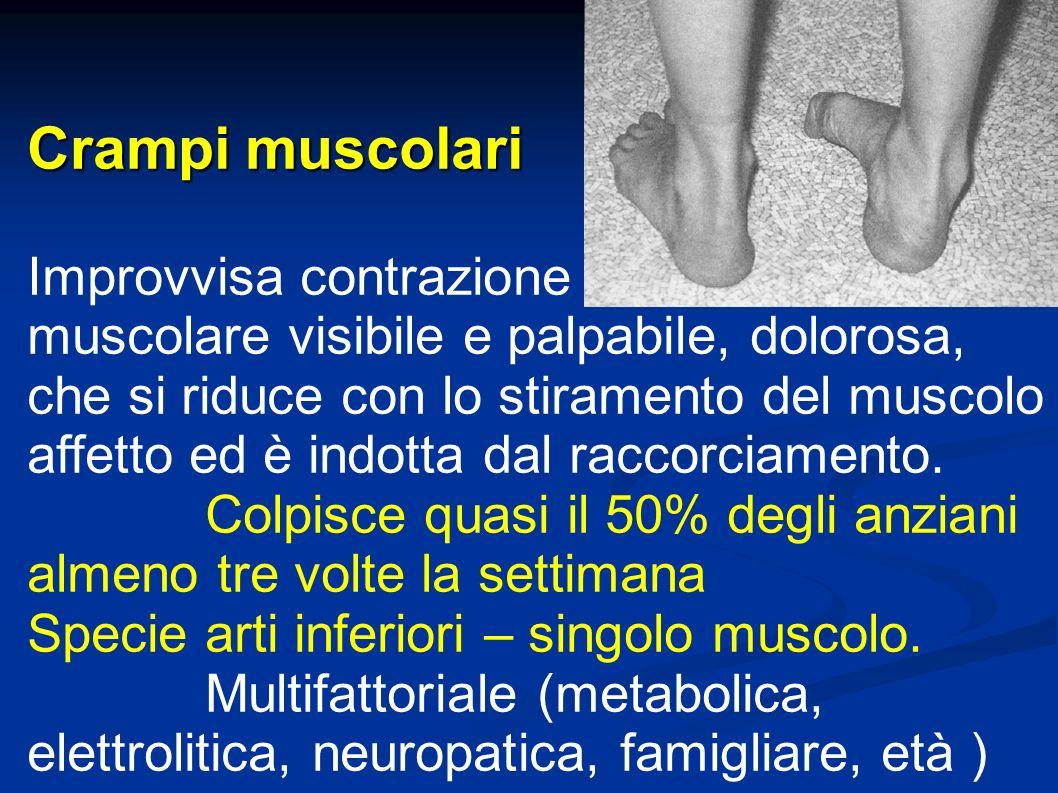 Crampi muscolari Improvvisa contrazione muscolare visibile e palpabile, dolorosa, che si riduce con lo stiramento del muscolo affetto ed è indotta dal