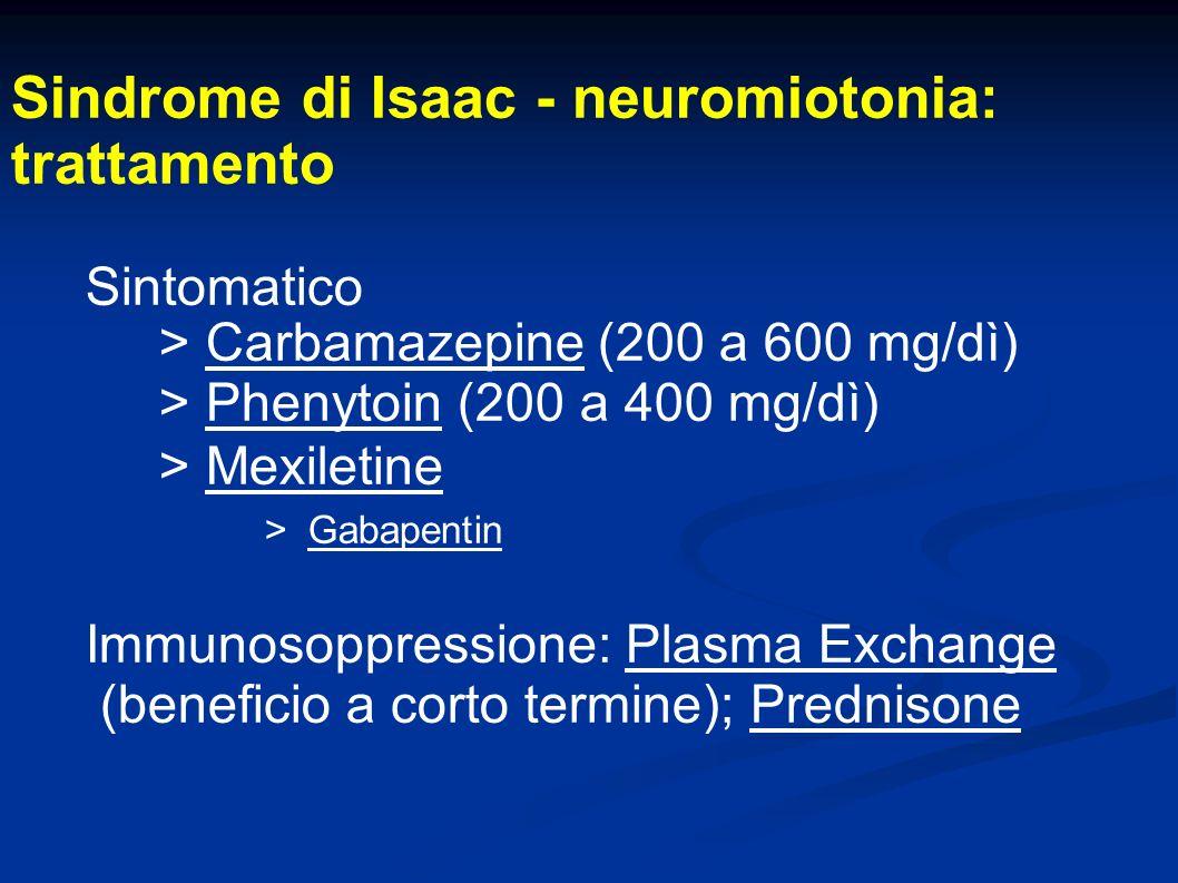 Sindrome di Isaac - neuromiotonia: trattamento Sintomatico > Carbamazepine (200 a 600 mg/dì) > Phenytoin (200 a 400 mg/dì) > Mexiletine > Gabapentin I
