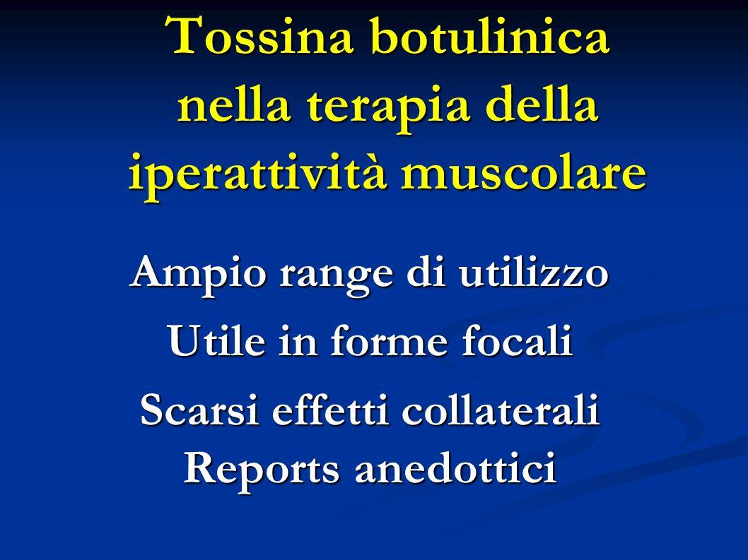 Tossina botulinica nella terapia della iperattività muscolare Ampio range di utilizzo Utile in forme focali Scarsi effetti collaterali Reports anedott
