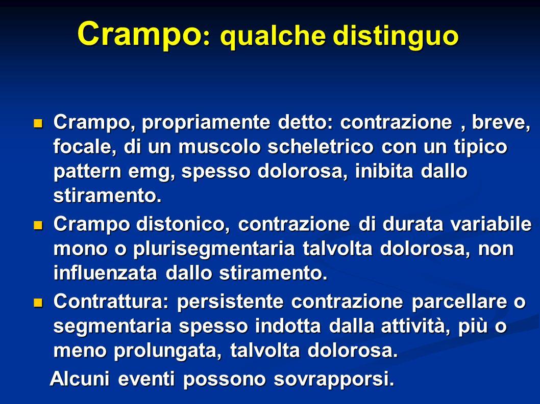 Valutazione crampi : importanza dellanamnesi e della clinica Crampi localizzati o plurisegmentari.