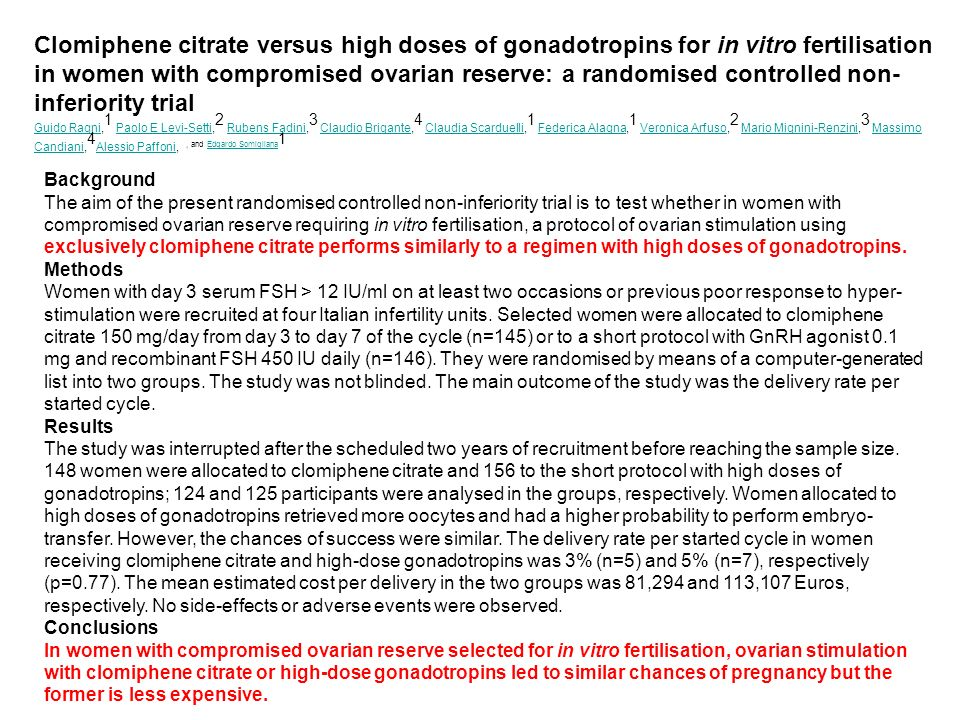 Clomiphene citrate versus high doses of gonadotropins for in vitro fertilisation in women with compromised ovarian reserve: a randomised controlled no