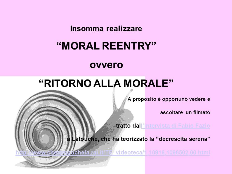 Insomma realizzare MORAL REENTRY ovvero RITORNO ALLA MORALE A proposito è opportuno vedere e ascoltare un filmato tratto dallintervista di Fabio Fazio