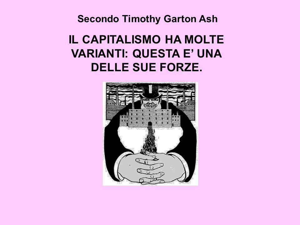 Secondo Timothy Garton Ash IL CAPITALISMO HA MOLTE VARIANTI: QUESTA E UNA DELLE SUE FORZE.