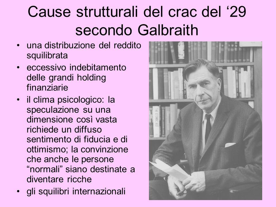 Cause strutturali del crac del 29 secondo Galbraith una distribuzione del reddito squilibrata eccessivo indebitamento delle grandi holding finanziarie
