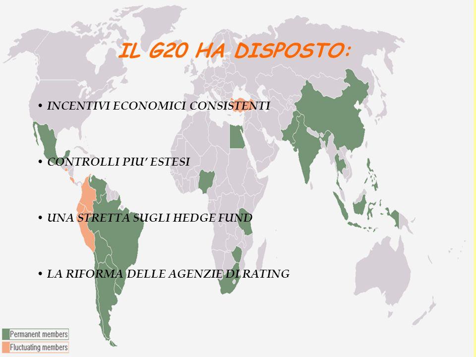 IL G20 HA DISPOSTO: INCENTIVI ECONOMICI CONSISTENTI CONTROLLI PIU ESTESI UNA STRETTA SUGLI HEDGE FUND LA RIFORMA DELLE AGENZIE DI RATING
