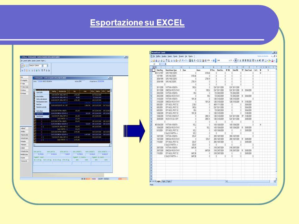 Esportazione su EXCEL