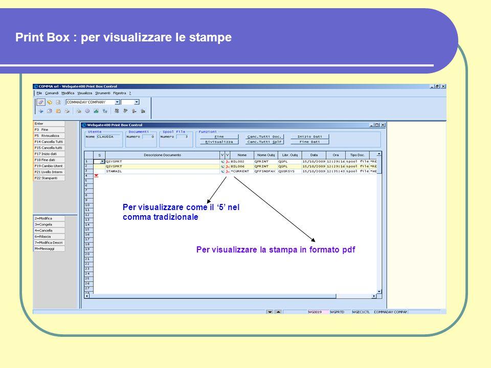 Print Box : per visualizzare le stampe Per visualizzare come il 5 nel comma tradizionale Per visualizzare la stampa in formato pdf