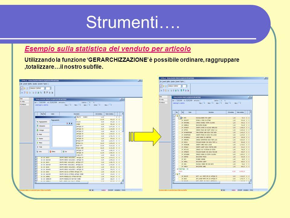 Strumenti…. Esempio sulla statistica del venduto per articolo Utilizzando la funzione GERARCHIZZAZIONE è possibile ordinare, raggruppare,totalizzare…i