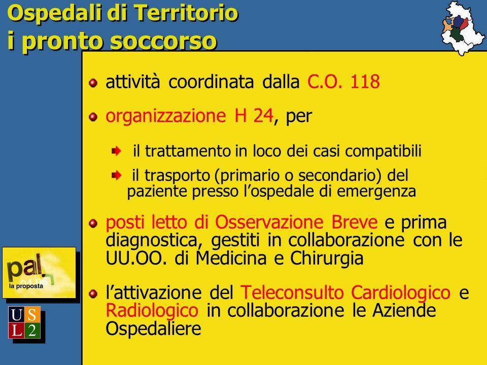Ospedali di Territorio i pronto soccorso attività coordinata dalla C.O. 118 organizzazione H 24, per il trattamento in loco dei casi compatibili il tr