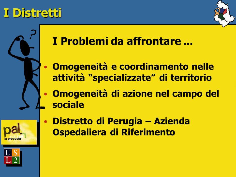 I Distretti I Problemi da affrontare... Omogeneità e coordinamento nelle attività specializzate di territorio Omogeneità di azione nel campo del socia
