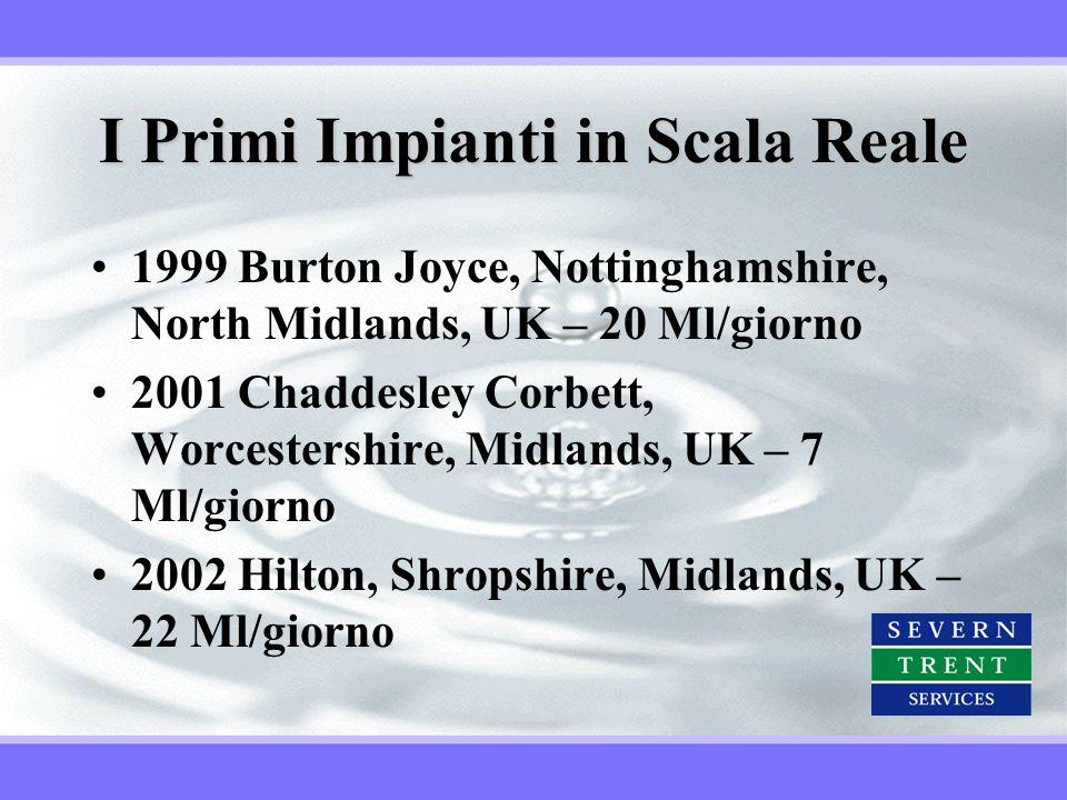 I Primi Impianti in Scala Reale 1999 Burton Joyce, Nottinghamshire, North Midlands, UK – 20 Ml/giorno 2001 Chaddesley Corbett, Worcestershire, Midland