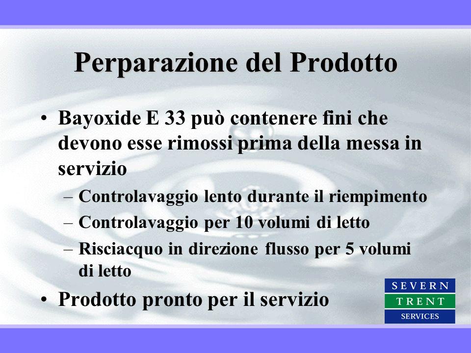 Perparazione del Prodotto Bayoxide E 33 può contenere fini che devono esse rimossi prima della messa in servizio –Controlavaggio lento durante il riem