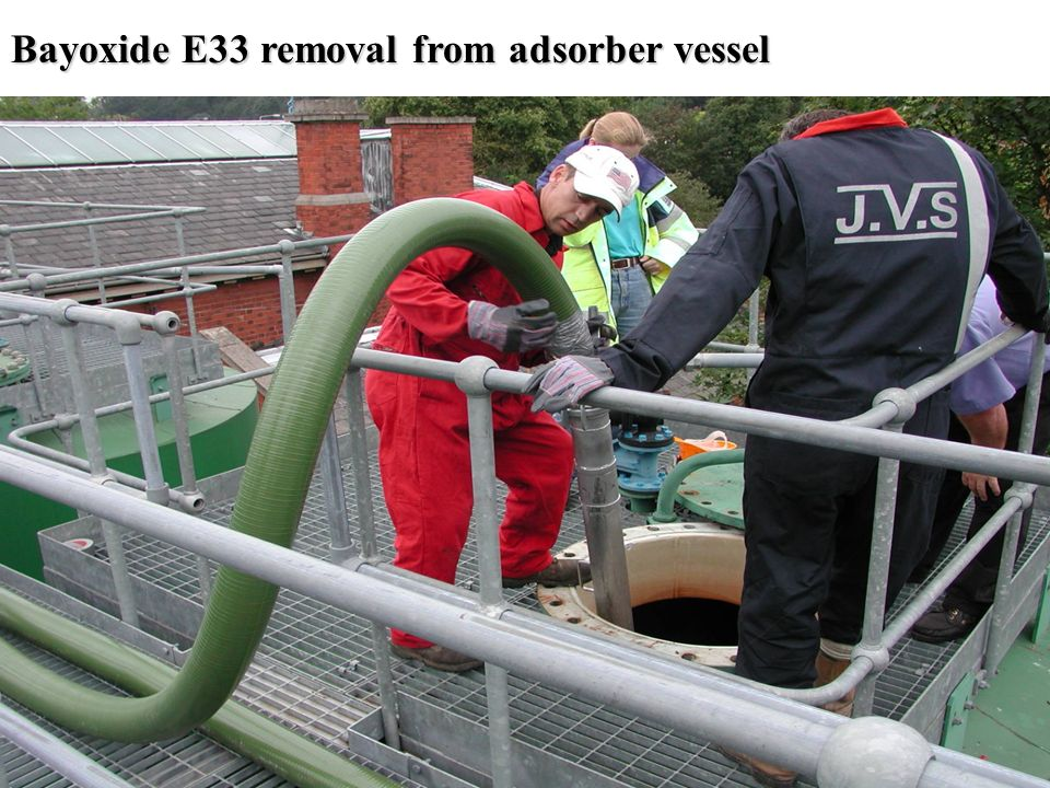 Bayoxide E33 removal from adsorber vessel