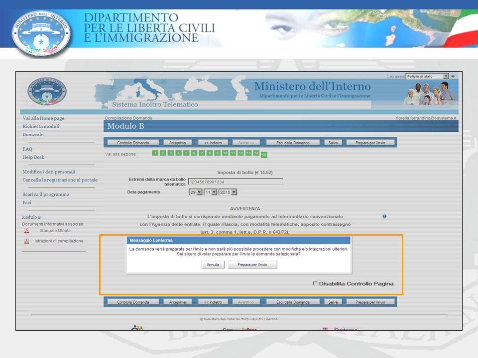 Sistema di Inoltro Telematico Per garantire linvio delle domande allora definita dal Decreto Flussi 2010 sincronizzare lorario delle proprie postazioni di lavoro con L Istituto Nazionale di Ricerca Metrologica (I.N.RI.M) accedendo al sito : http://www.inrim.it/ntp/webclock_i.shtml Per richiedere ulteriori utenze di accesso al sistema ALI2 inviare le richieste con lindicazione dellutenza prescelta ed il numero delle utenze da replicare alla casella di posta elettronica associazioni.sui@interno.it.