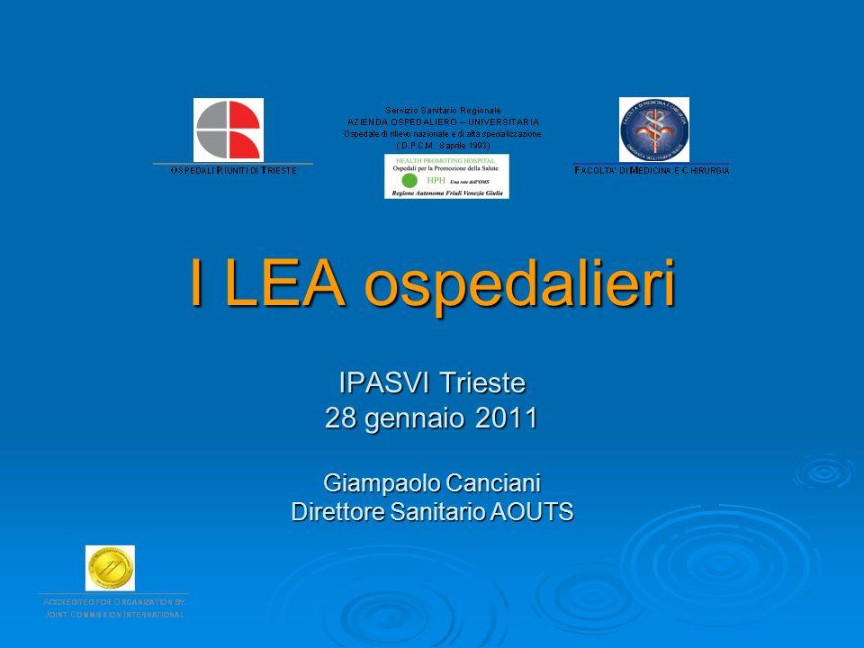 I LEA ospedalieri IPASVI Trieste 28 gennaio 2011 Giampaolo Canciani Direttore Sanitario AOUTS