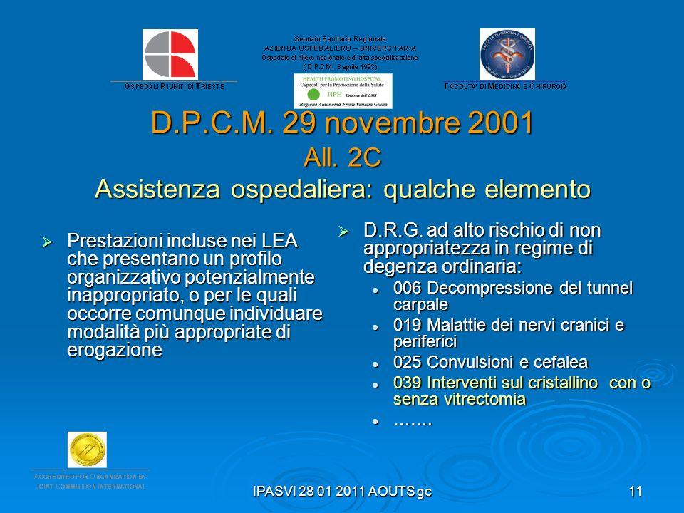 IPASVI 28 01 2011 AOUTS gc11 D.P.C.M. 29 novembre 2001 All. 2C Assistenza ospedaliera: qualche elemento Prestazioni incluse nei LEA che presentano un