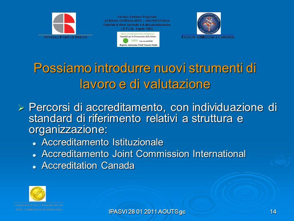 IPASVI 28 01 2011 AOUTS gc14 Possiamo introdurre nuovi strumenti di lavoro e di valutazione Percorsi di accreditamento, con individuazione di standard