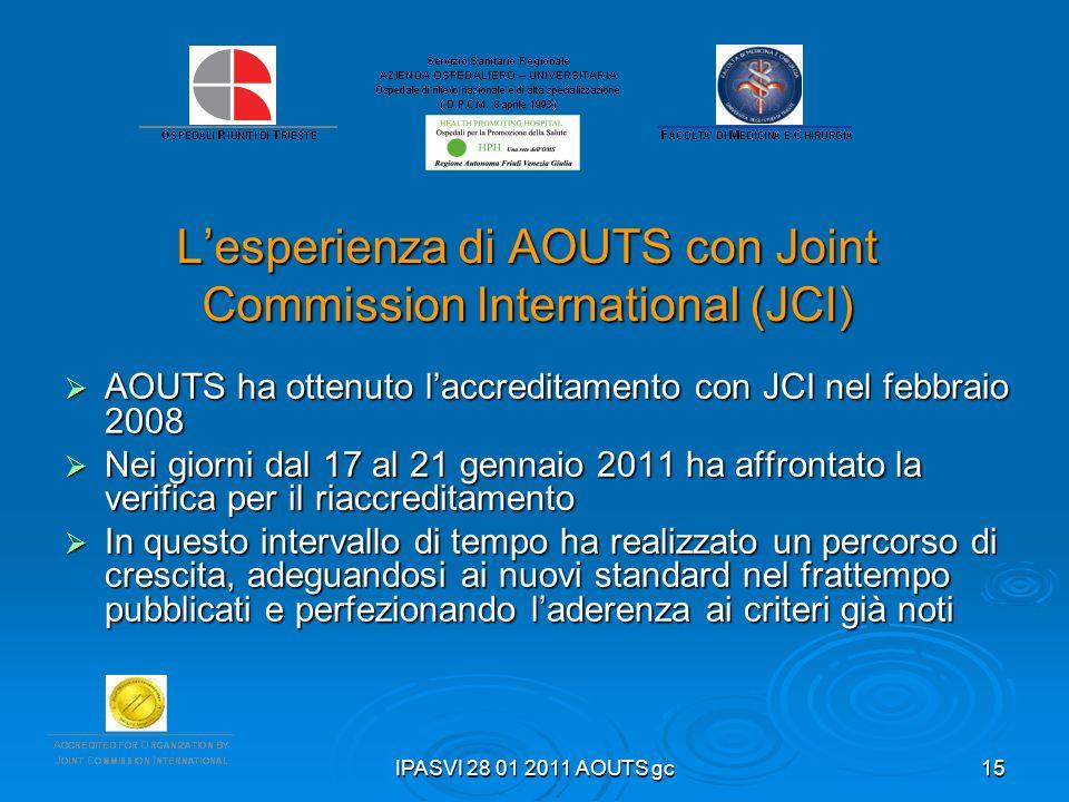 IPASVI 28 01 2011 AOUTS gc15 Lesperienza di AOUTS con Joint Commission International (JCI) AOUTS ha ottenuto laccreditamento con JCI nel febbraio 2008