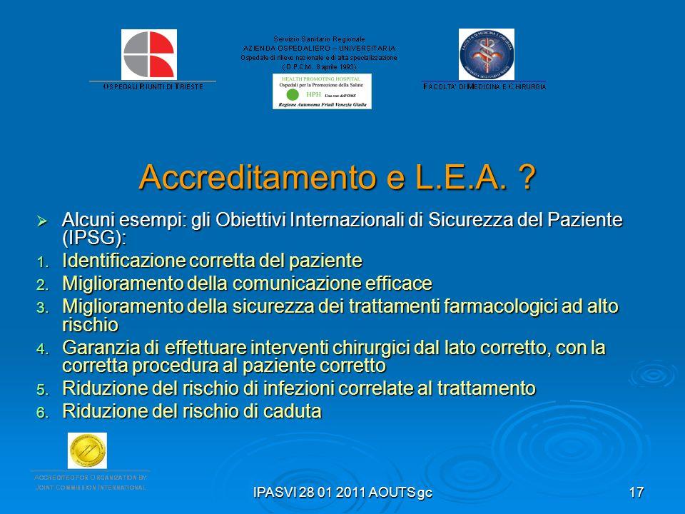 IPASVI 28 01 2011 AOUTS gc17 Accreditamento e L.E.A. ? Alcuni esempi: gli Obiettivi Internazionali di Sicurezza del Paziente (IPSG): Alcuni esempi: gl