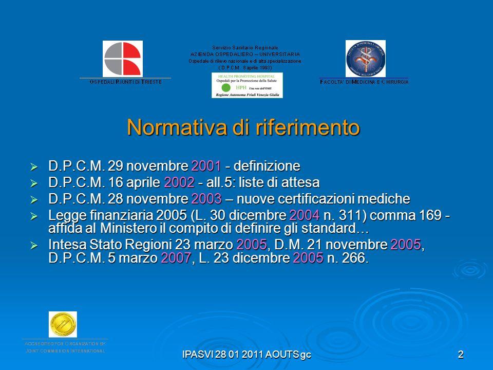 IPASVI 28 01 2011 AOUTS gc2 Normativa di riferimento D.P.C.M. 29 novembre 2001 - definizione D.P.C.M. 29 novembre 2001 - definizione D.P.C.M. 16 april