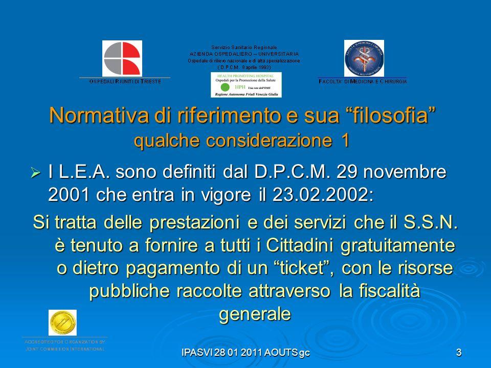 IPASVI 28 01 2011 AOUTS gc3 Normativa di riferimento e sua filosofia qualche considerazione 1 I L.E.A. sono definiti dal D.P.C.M. 29 novembre 2001 che
