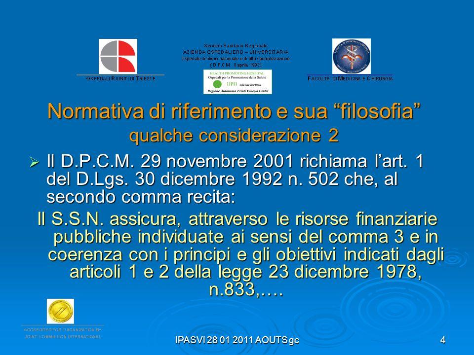 IPASVI 28 01 2011 AOUTS gc4 Normativa di riferimento e sua filosofia qualche considerazione 2 Il D.P.C.M. 29 novembre 2001 richiama lart. 1 del D.Lgs.