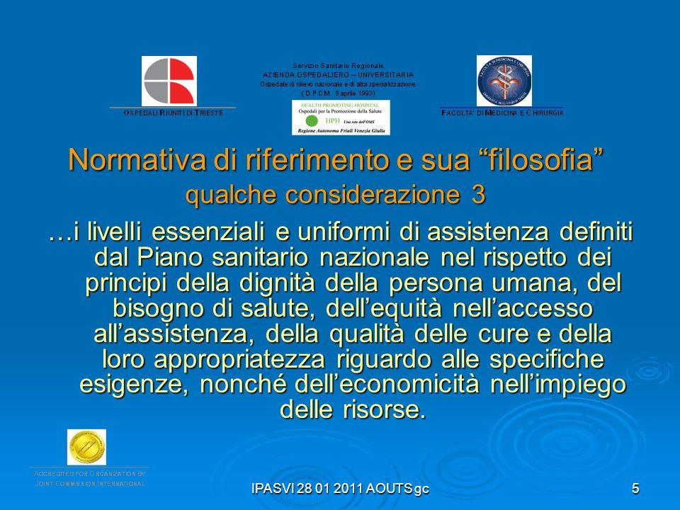 IPASVI 28 01 2011 AOUTS gc5 Normativa di riferimento e sua filosofia qualche considerazione 3 …i livelli essenziali e uniformi di assistenza definiti