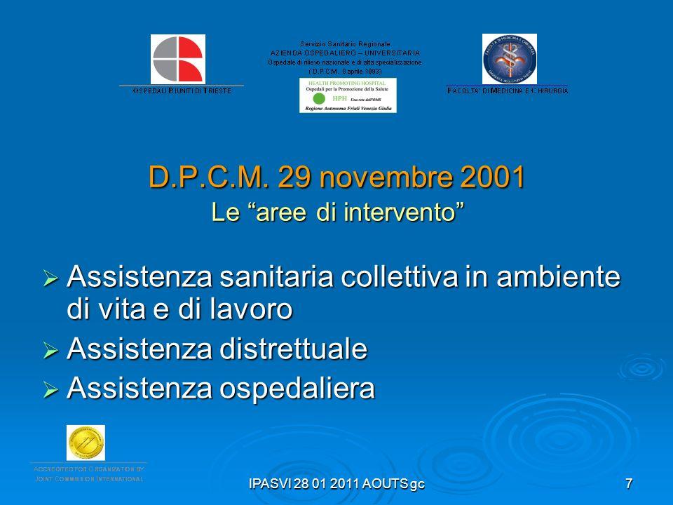 IPASVI 28 01 2011 AOUTS gc7 D.P.C.M. 29 novembre 2001 Le aree di intervento Assistenza sanitaria collettiva in ambiente di vita e di lavoro Assistenza
